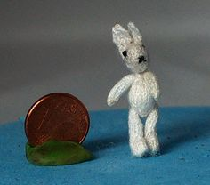 little knitted rabbit,3,5 cm to top of its ears (1,38 inch)