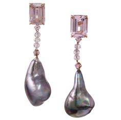 Tahitian Baroque Pearl Sapphire Pink Diamond Gold Dangle Earrings | From a unique collection of vintage dangle earrings at https://www.1stdibs.com/jewelry/earrings/dangle-earrings/