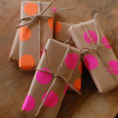Neon Polka Dotted Wrapping. Just use kraft paper and neon stickers!