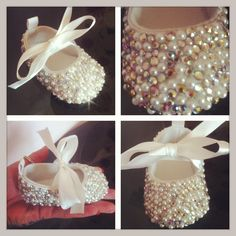 Cute baby Classics! So tiny and encrusted with crystals and pearls. Would make beautiful bridesmaid/flower girl/christening shoes for your princess.