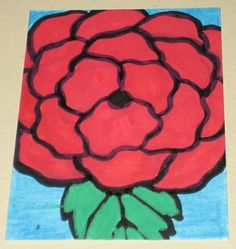 Original Drawing ACEO Red Flower Design by gogokittenart on Etsy, $10.00