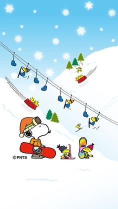 Snoopy & Woodstock going to the ski lift. They use sock for the birds. Adorable~!