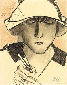 Jan Toorop, Schrijvend meisje - 1916