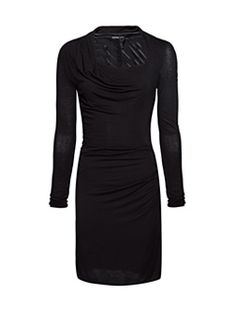 Slim-Fit Straight-Cut Dress With Long Sleeves, Asymmetric Neck And Draped Details At Waist