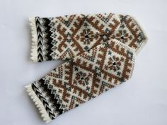 High quality hand knitted warm wool mittens , gloves  patterned Brown, white.. $50.00, via Etsy.
