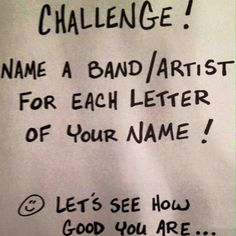 M: My Chemical Romance, A: All Time Low, R: Rise Against, I: Imagine Dragons, A: Augustana, N: NeverShoutNever, A: A Day To Remember