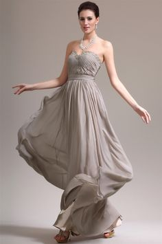 osell wholesale dropship Chiffon Pleated Pearl Sweetheart Sleeveless Floor Length A Line Evening Prom Dress $66.42