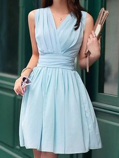Blue Sleeveless Chiffon Ruffle Dress - Fashion Clothing, Latest Street Fashion At Abaday.com