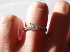 Engagement Ring - Princess cut unique twist band