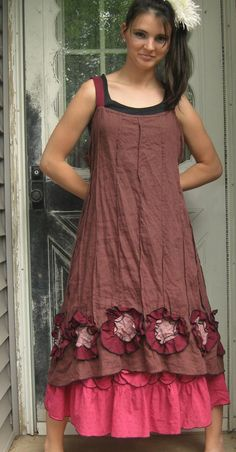 Purpley Brown Linen Flower Bottom Dress M by sarahclemensclothing