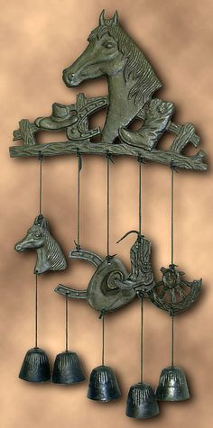 Horse Bell Rustic Wind Chimes Cast Iron Western Theme Garden Mobiles Decor