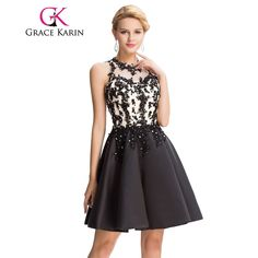 479bc16cc2a9 Grace Karin Sexy Black Prom Dress 2017 Satin Exquisite Appliques Beading  Elegant Knee Length Short Prom Dresses Ballkleider