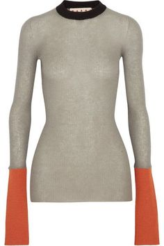 Marni - Color-block Ribbed-knit Sweater - Gray - IT42