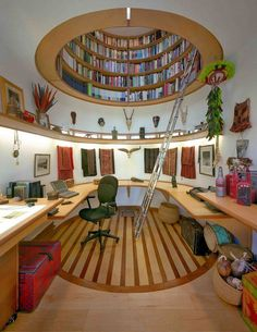Most amazing bookcase/skylight ever.