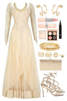 """""""glam in gold"""" by purplebloom ❤ liked on Polyvore featuring Jimmy Choo, Lodis, LULUS, Kate Spade, MAC Cosmetics, Jouer, House of Harlow 1960 and perfect"""