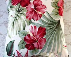 "Hawaiian Hibiscus Oasis Cushion Cover, Tropical Barkcloth Cushion Cover, Mid Century Mondern 20""x20"", Palm Leaf Cushion Cover Diy Pillows, Decorative Pillows, Throw Pillows, Lampe Retro, Tropical Design, Printed Cushions, Perfect Pillow, Fabric Painting, Soft Furnishings"