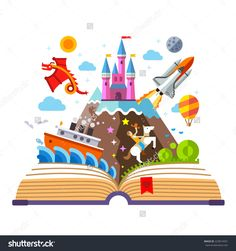 water color open book with a castle - Google Search