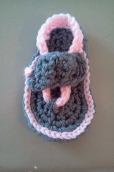 Crocheted flip flops by GitlitGifts on Etsy