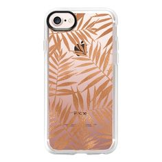 Rose Gold Leaves - iPhone 7 Case And Cover (€35) ❤ liked on Polyvore featuring accessories, tech accessories, phones, iphone case, iphone cases, iphone cover case, rose gold iphone case, clear iphone case and apple iphone case