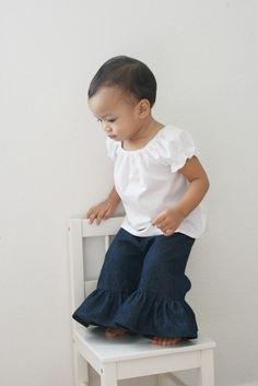 Ruffle Denim Pants / Sizes 12m 18m 2t 3t 4t 5t by xxLittleBoatsxx, $24.00