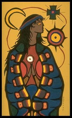 The Virgin Mary, 1966 - Norval Morrisseau Native Canadian, Canadian Artists, Mother Mary Images, Style Tribal, Native American Artwork, Les Religions, Art Database, Indigenous Art, Naive Art