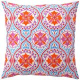 Vivid colors lend modern appeal to this vintage-inspired Jennifer Paganelli embroidered pillow. The orange, blue and magenta medallion design of the Back Bay pillow adds texture and interest when mixed with other colors and patterns. Handcrafted linen pillow includes 95/5 feather down insert.