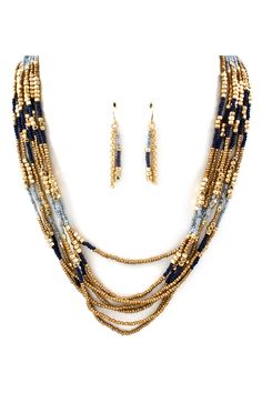 Long Bia Necklace in Blue Layers