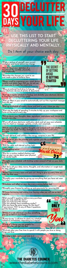 30 Days To Be More Productive and Declutter Your Life: Use this list to start decluttering your life physically and mentally! Do 1 item of your choice each day.