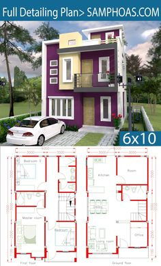 Sketchup Home Design Plan with 4 Rooms - SamPhoas Plansearch Dream House Plans, Modern House Plans, Small House Plans, House Floor Plans, Duplex House Design, House Front Design, Small House Design, Casas The Sims 4, Architectural House Plans