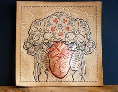 Tattooed leather art. Original, unique artwork: Love will tear us apart (1) Heart, flower , skeleton Handmade