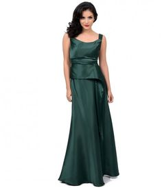 Iconic by UV 1930s Style Emerald Satin Crawford Gown