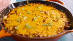 It doesn't get any more cheesy than this this Chili Cornbread Skillet.