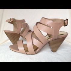 """Strappy Nude Tan Heeled Sandals Brand new size 8.5 Brand new never worn size 8.5 with heel at 3"""" strappy nude tan sandals perfect for summer Shoes Heels"""