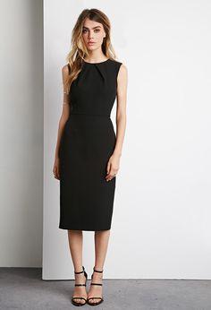 Pleated Front Sheath Dress