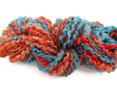 Handspun Art Yarn from a Fiber Art Batt 2.50 ounces by ladypainswick, $14.00  Think desert southwest