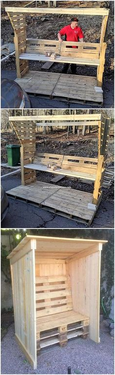 Inspiring DIY Pallet Projects Everyone Can Do: Wood pallet is derived from the barks of the wood trees that are an entire lot long lasting. Wooden Pallet Coffee Table, Pallet Benches, Wooden Pallets, Diy Pallet Projects, Pallet Ideas, Wall Shelf Decor, Pallet Creations, Wood Tree, Planter Boxes