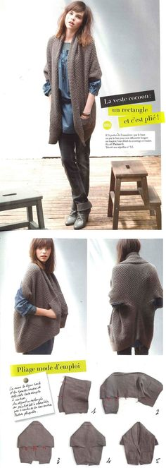 How to piece together three rectangles to make a great cocoon sweater. ༺✿ƬⱤღ✿༻: