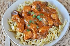 "Paprika Chicken Stroganoff (for GF use 1T. Cornstarch in place of the 2T.  Flour and serve over GF egg noodles.  We really like Bette Hagman's recipe for homemade egg noodles. - I think it is her ""comfort foods"" cookbook.)"