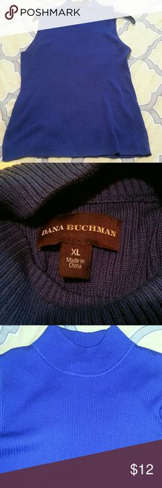 Royal blue ribbed sleeveless sweater Ribbed sleeveless mock turtle neck sweater. Very bright and beautiful royal blue color.   Comfy but classy  fit. Soft fabric with a soft stretch.  Hangs  and covers down to my hips,  avg length torso.  Does not show bra on sides. Dana Buchman Sweaters Cowl & Turtlenecks