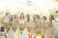 Antique pink bridesmaids dresses in a beautiful country wedding.