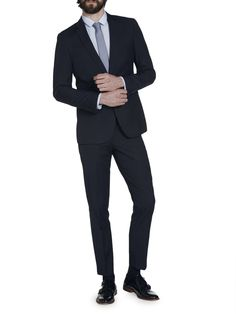 2 Piece Navy Stripe Slim Fit Suit
