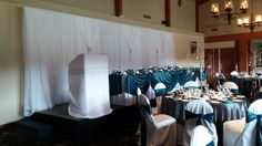 White Chiffon Backdrop with synched in sections & glitz (silver & teal) #yyceventrentals #wedding www.greateventsrentals.com