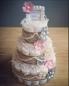 Classic shabby stylish pink and grey diaper cake by JennyKnickDesigns...