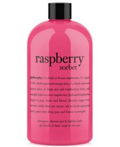philosophy raspberry sorbet ultra rich 3-in-1 shampoo, shower gel and bubble bath, 16 oz | macys.com