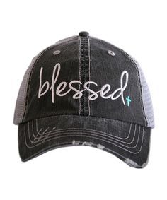 Look at this Katydid Collection Gray & Mint 'Blessed' Trucker Hat on #zulily today!