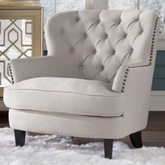 I here you talking with this House of Hampton Greene Tufted Upholstered Linen Club Chair Living Room Chairs, Living Room Furniture, Living Room Decor, Dining Chairs, Furniture Chairs, Farmhouse Rugs, Farmhouse Table, Modern Farmhouse, Accent Furniture