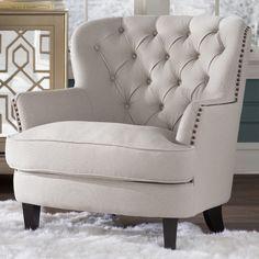 House of Hampton Greene Tufted Upholstered Linen Club Chair & Reviews | Wayfair