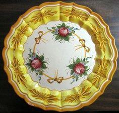 Vintage Roses and Bows Golden Scalloped Italy Italian Shabby Platter
