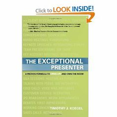 The Exceptional Presenter: A Proven Formula to Open Up and Own the Room. Written by Timothy J. Koegel. This is a great book for anyone who wants to take their presentation skills to the next level. http://www.amazon.com/Exceptional-Presenter-Proven-Formula-Open/dp/1929774443/ref=sr_1_1?s=books=UTF8=1357673969=1-1=the+exceptional+presenter