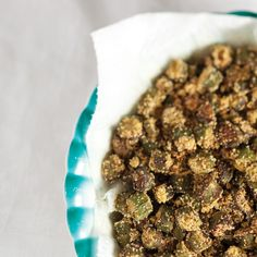 Old School Fried Okra...Note: For an extra-crispy texture, okra can be cooked until almost black.
